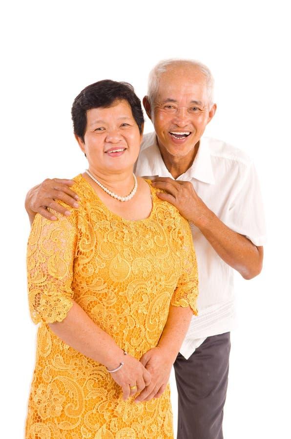 亚裔夫妇前辈 免版税库存照片