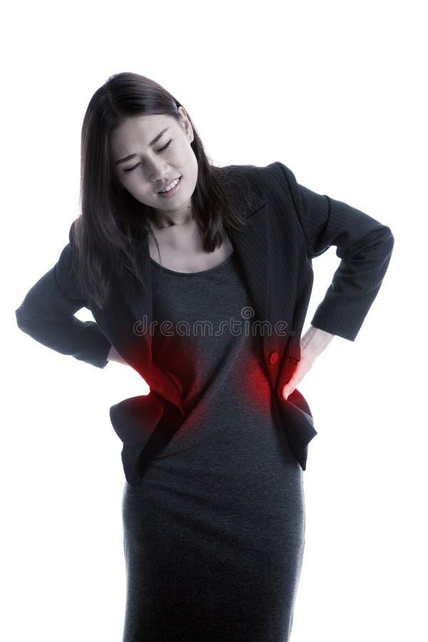 年轻亚裔女商人得到了背部疼痛 免版税库存照片