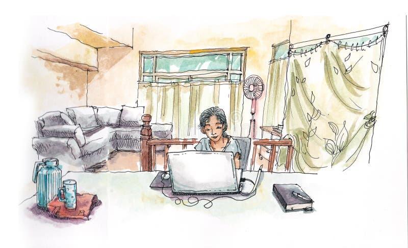 亚裔女孩与从家庭hadn绘画illustr的计算机一起使用 向量例证