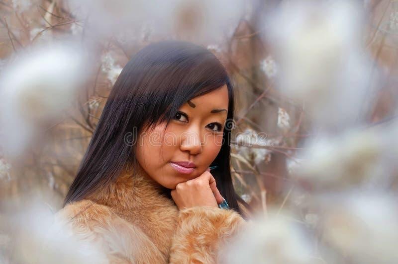 亚裔女孩偏僻俏丽 库存照片