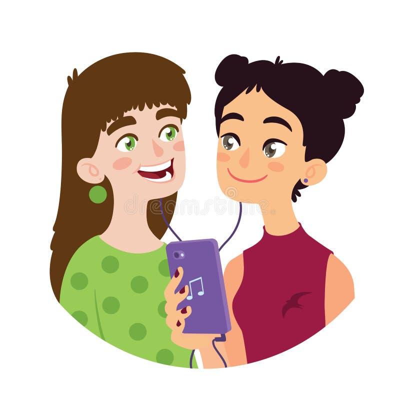 亚裔女孩分享音乐给欧洲女孩 导航国际友谊的例证在平的动画片样式的 向量例证