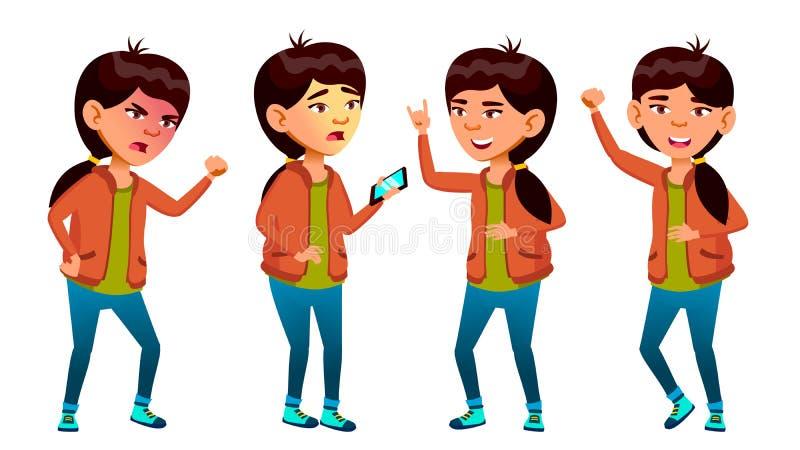 亚裔女孩摆在集合传染媒介 高中孩子 生活,情感,姿势 对网,小册子,海报设计 查出 库存例证