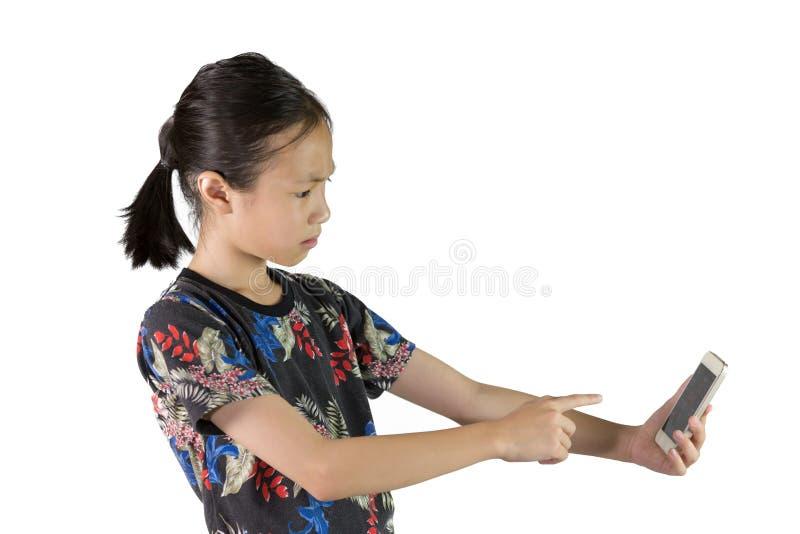 亚裔女孩有眼睛问题,深谋远虑的概念 库存图片