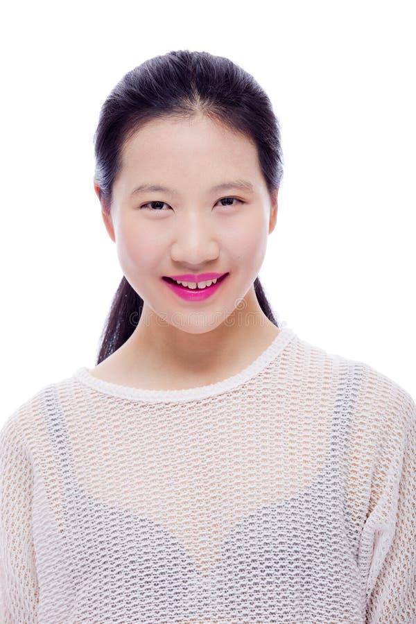 亚裔女孩高关键秀丽画象  免版税图库摄影