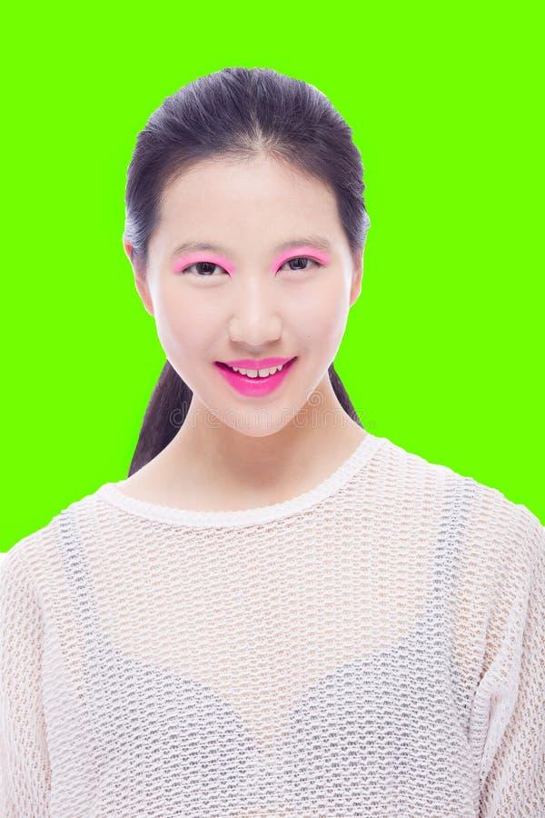 亚裔女孩高关键秀丽画象  库存照片