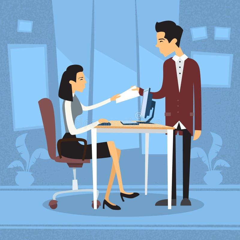 亚裔女实业家坐的书桌商人给纸营业所 向量例证