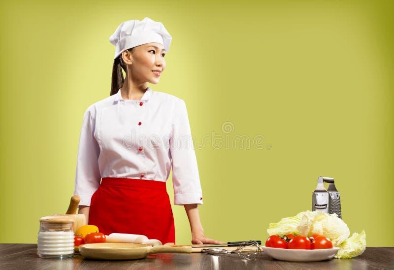亚裔女性主厨 库存照片