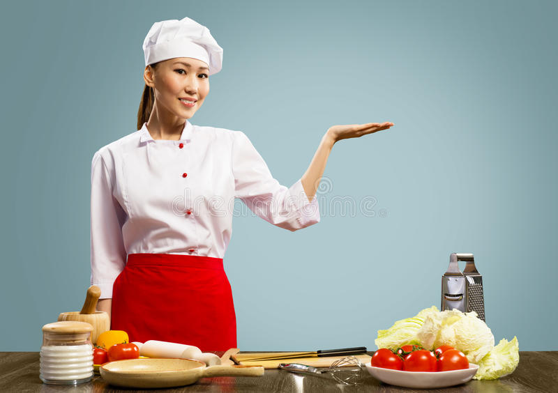 亚裔女性主厨 图库摄影