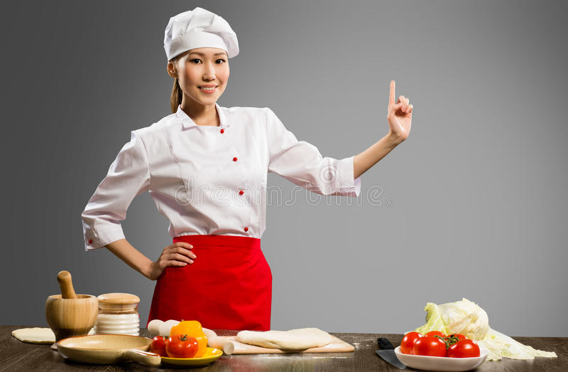 亚裔女性厨师 库存照片