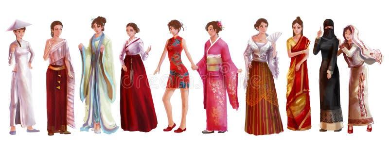 亚裔女性的高细节水彩样式动画片例证 向量例证