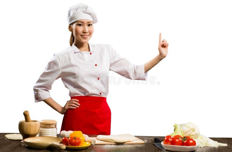 亚裔女性主厨 免版税库存图片