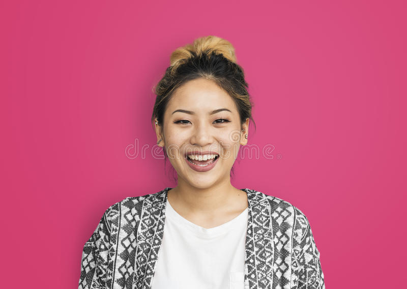 亚裔妇女微笑的幸福概念 图库摄影