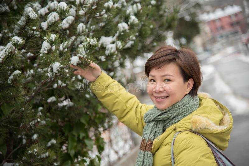 亚裔妇女旅行在冬天的,瑞士,欧洲 库存照片