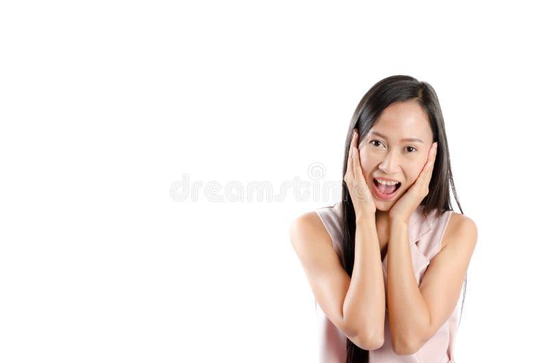 亚裔妇女画象照片有愉快的表示面孔和微笑的 免版税库存照片