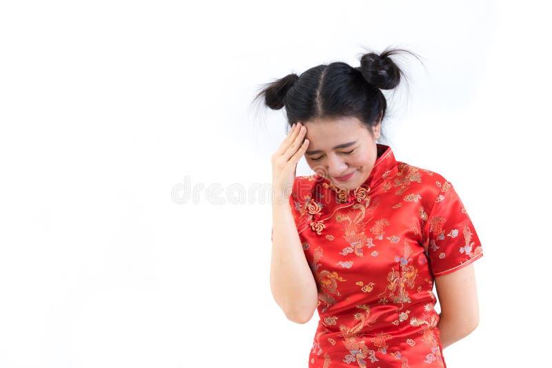 亚裔妇女画象繁体中文长的礼服的, cheon 免版税库存图片