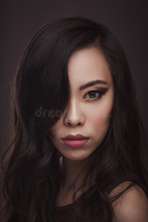 亚裔妇女秀丽纵向 免版税库存图片