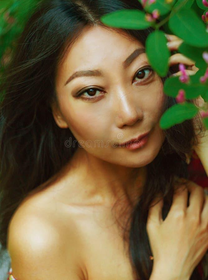 亚裔妇女美丽的画象本质上与绿色叶子的 库存图片