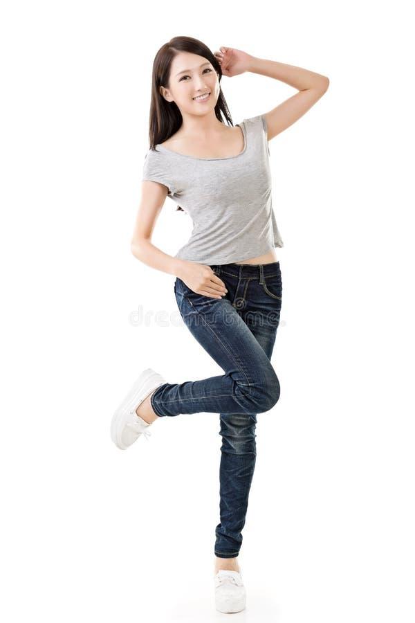 亚裔快乐的妇女 免版税图库摄影