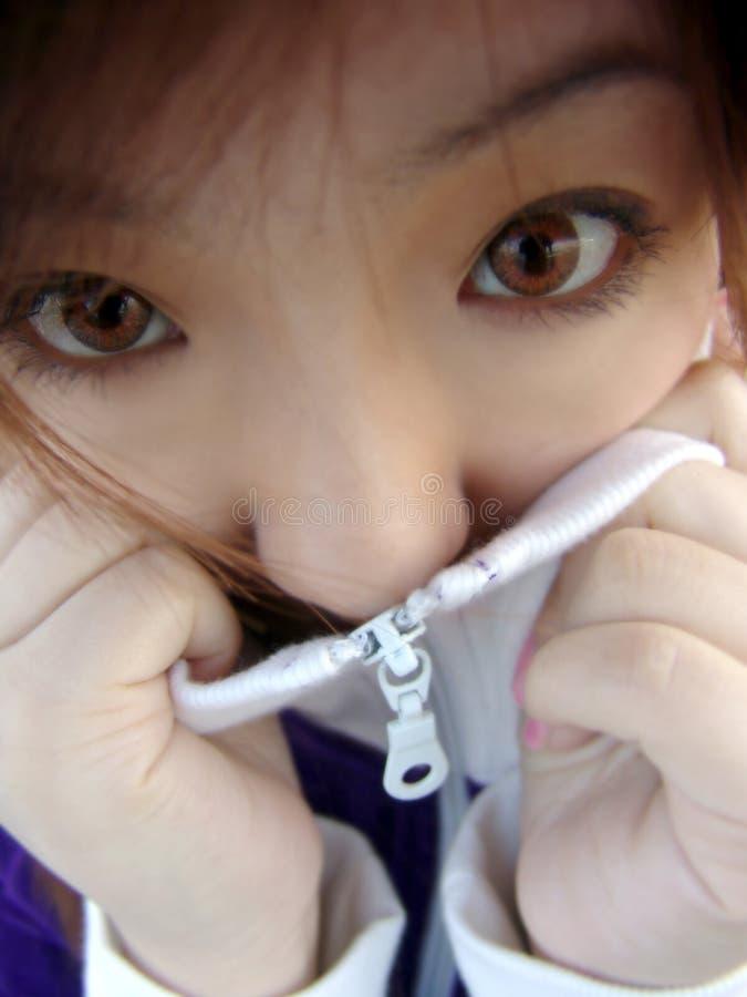 亚裔感觉女孩害怕 库存图片