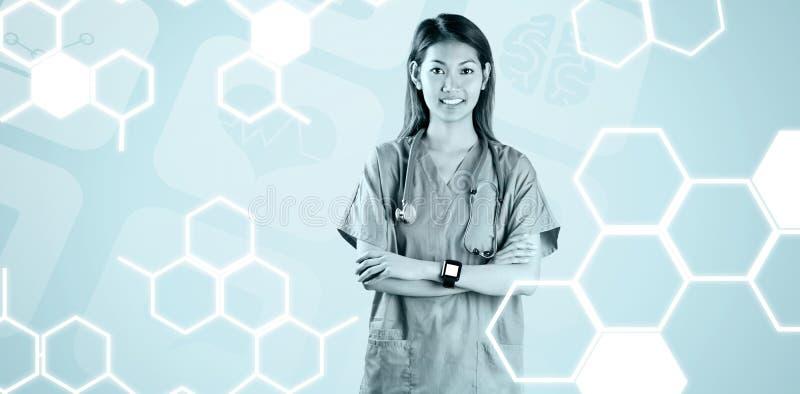 亚裔护士的综合图象有横渡的胳膊的 皇族释放例证