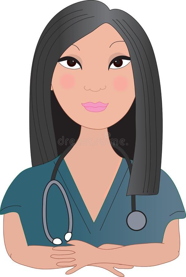 亚裔护士 库存例证