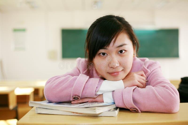 亚裔教室女孩 库存图片