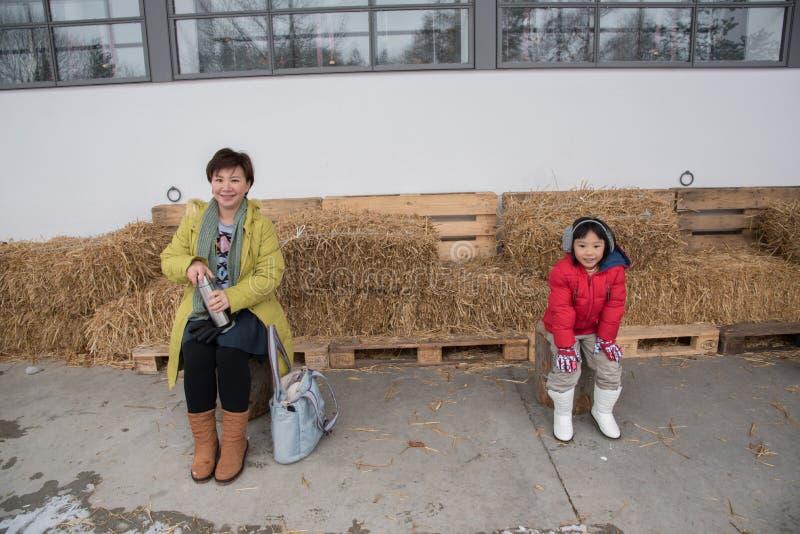 亚裔母亲和女儿旅行在冬天的,瑞士,欧洲 免版税图库摄影