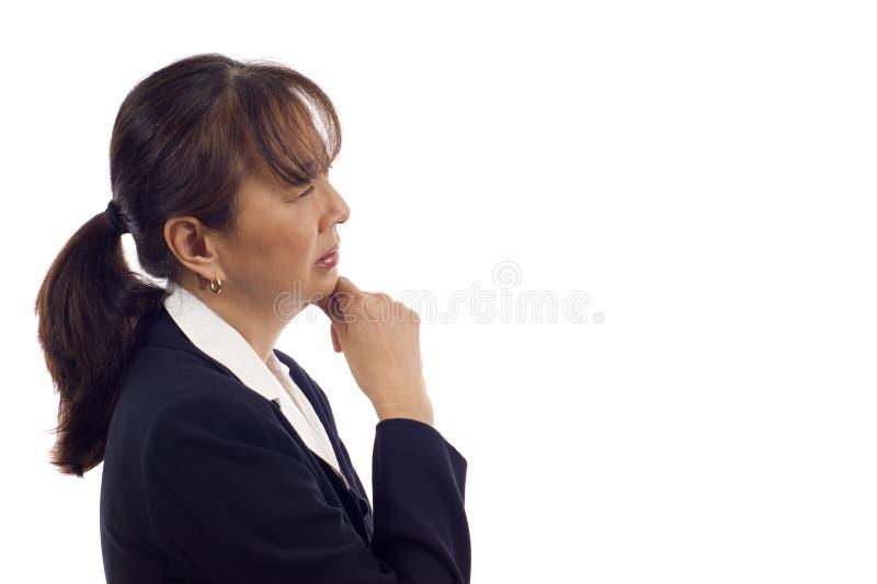 亚裔沉思妇女 免版税库存照片