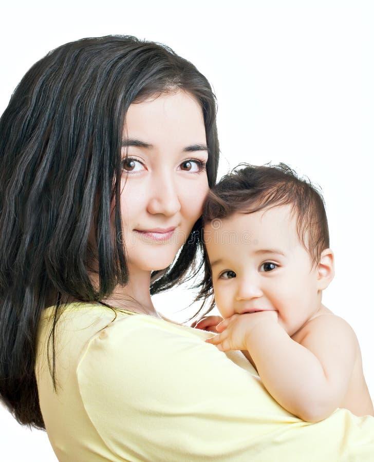 亚裔男婴母亲 库存图片