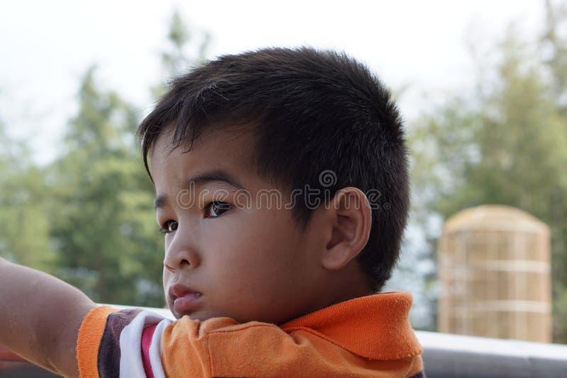 亚裔男孩是错过故事 免版税库存照片