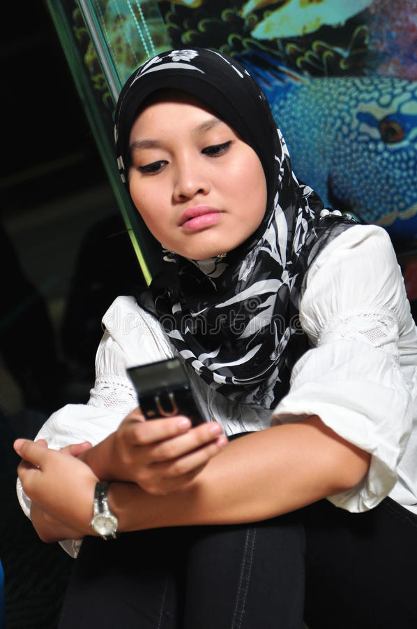 亚裔移动电话妇女 库存图片