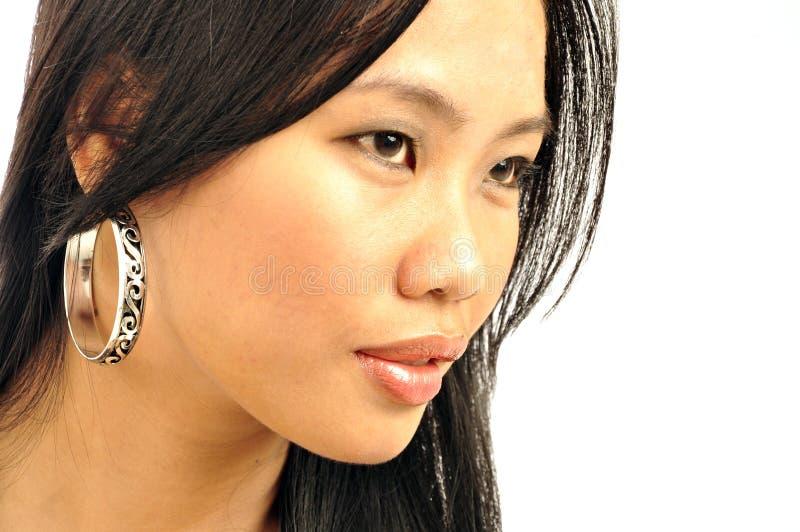 亚裔纵向妇女 免版税图库摄影