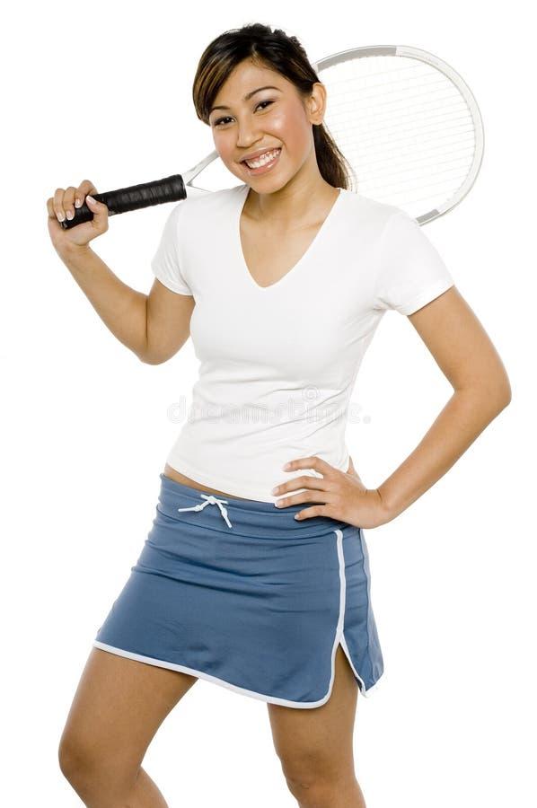 亚裔网球员 免版税库存照片