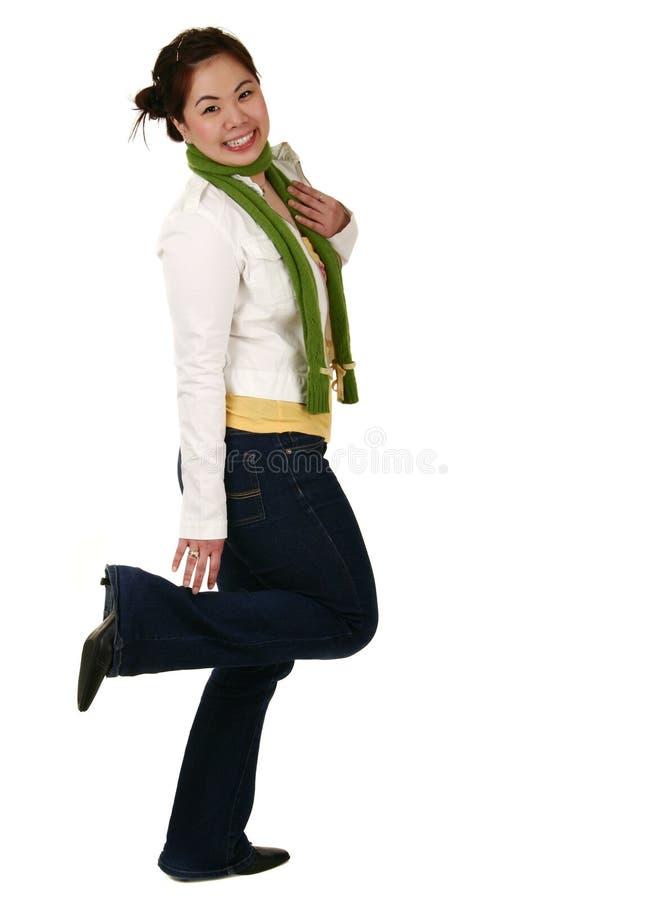亚裔表达式乐趣女孩 免版税图库摄影