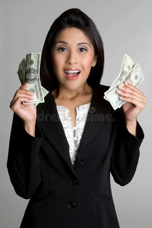 亚裔货币妇女 库存图片