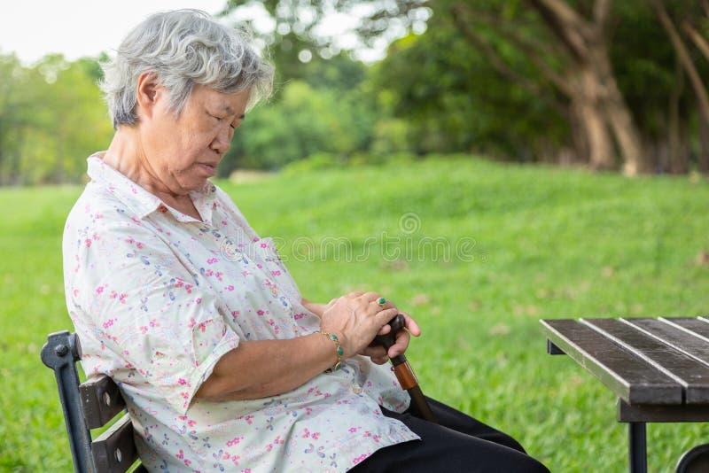 亚裔资深妇女坐睡着,在椅子的打瞌睡,年长女性闭上了她的眼睛,休息在夏天绿色自然,老人感觉 免版税库存图片