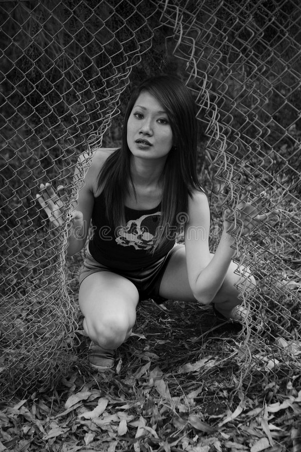 亚裔逃脱的女孩 库存图片