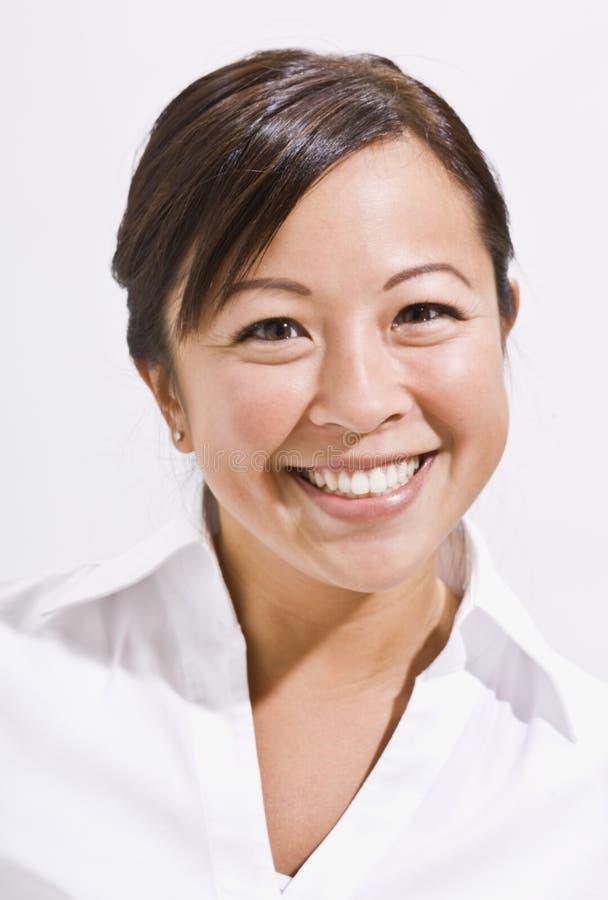 亚裔逗人喜爱的headshot妇女 库存图片