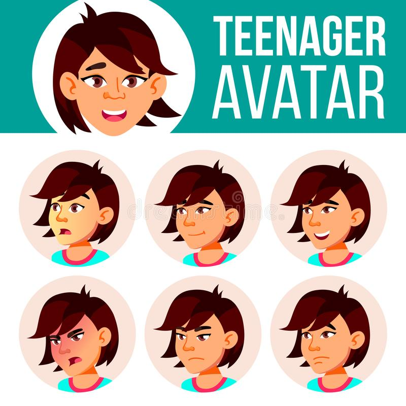 亚裔青少年的女孩具体化集合传染媒介 面对情感 表示,正面人 秀丽,生活方式 动画片愉快的顶头例证人 向量例证
