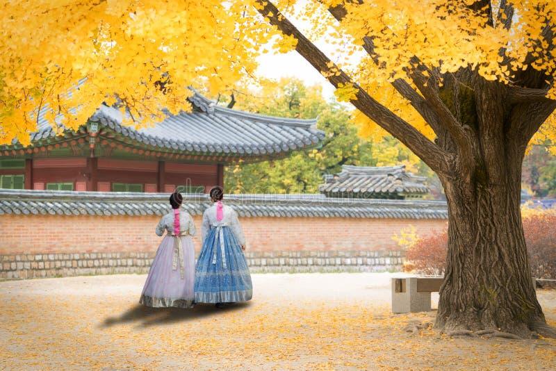亚裔韩国妇女穿戴了在传统礼服走的i的Hanbok 库存照片