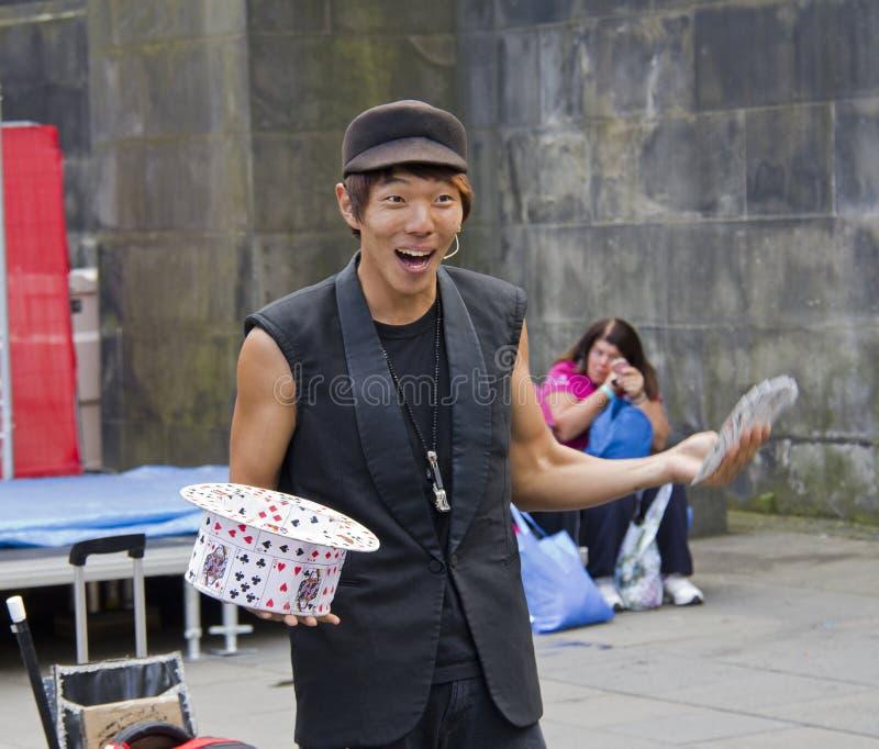 亚裔魔术师 库存照片