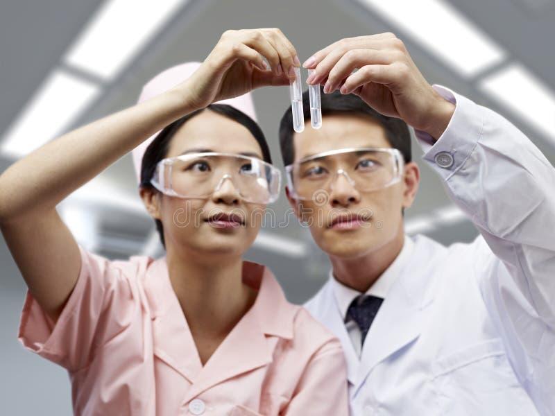 亚裔医疗专家在工作 库存图片