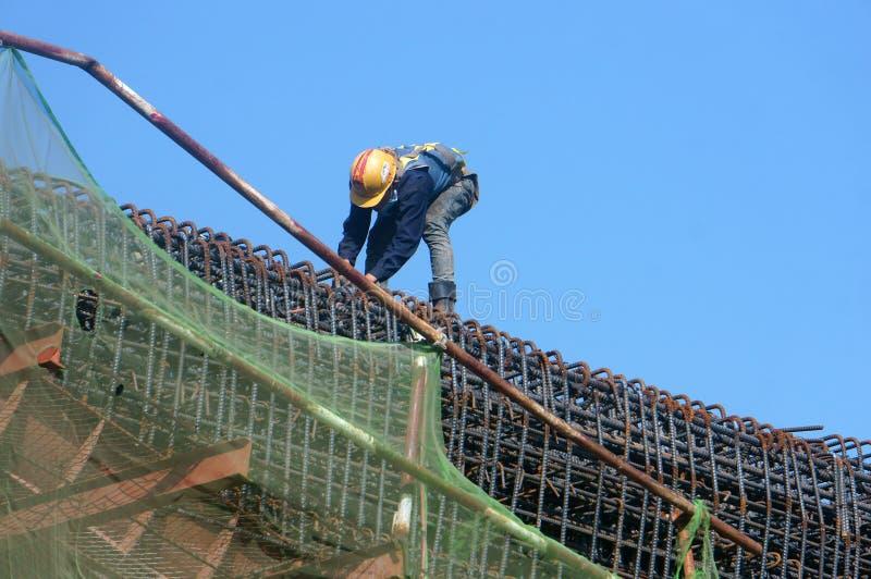 亚裔建筑工人,高架铁路,地铁 免版税库存图片