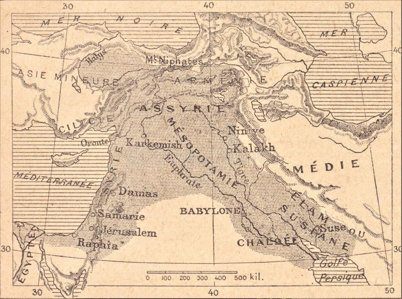 亚述人帝国的地图 库存例证