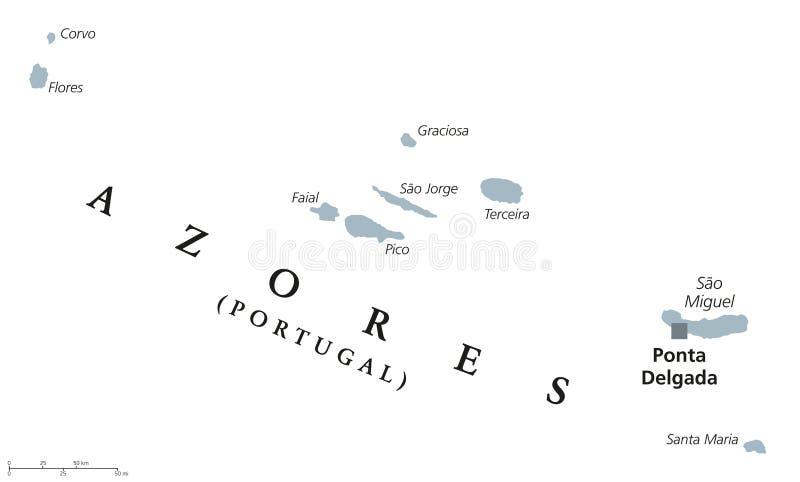 亚速尔群岛政治地图 向量例证
