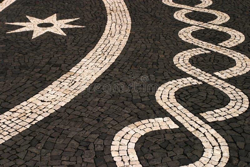 亚速尔群岛海岛马赛克路面石头 库存图片