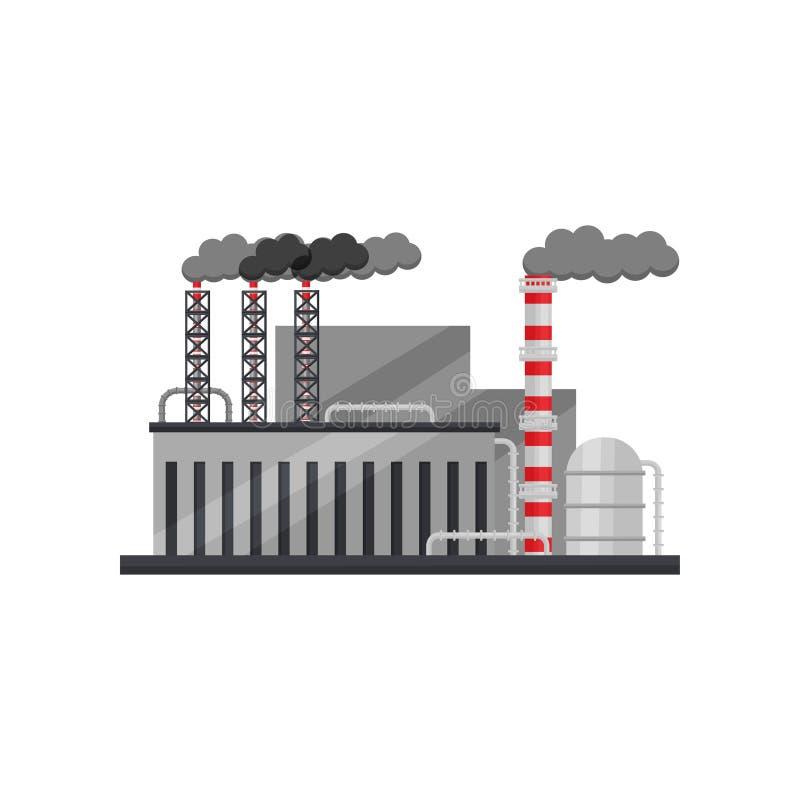 亚铁冶金学的工厂 有大厦、储水池和烟斗的工厂设备 平的传染媒介设计 皇族释放例证