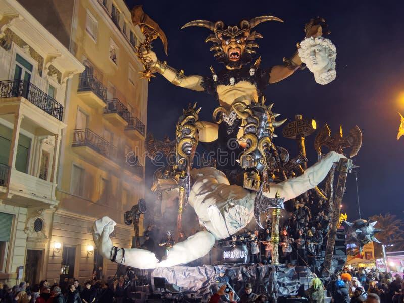 维亚雷焦,意大利- 3月12 :在维亚雷焦C的寓言的浮游物 库存图片