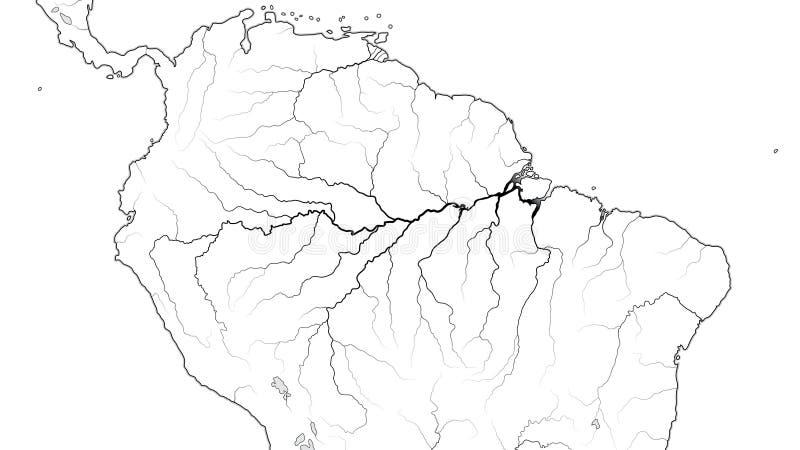 亚马逊丛林地带区域世界地图在南美洲:亚马孙河,巴西,委内瑞拉 地理图 向量例证