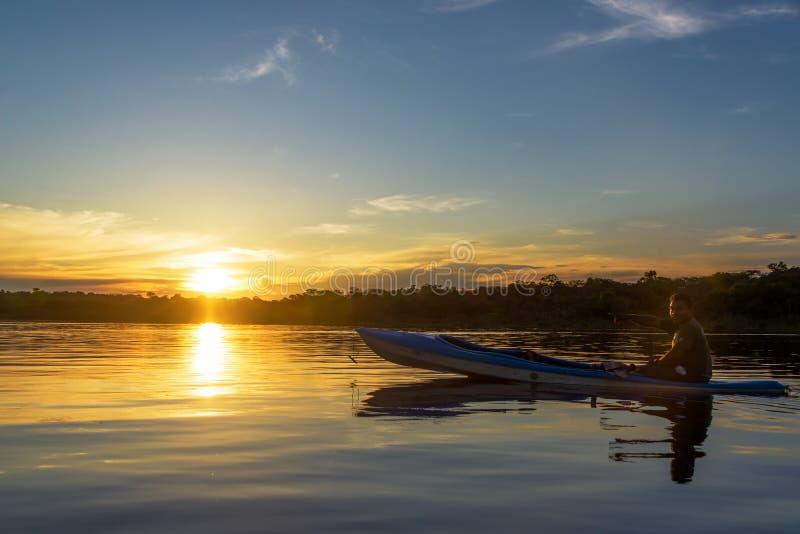亚马逊日落和导游 库存图片